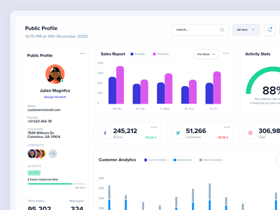Profile Page Analytics charts infographics graphs custom analytics messages social media reports sales activity webapp ui dashboard analytics profile page profile ui
