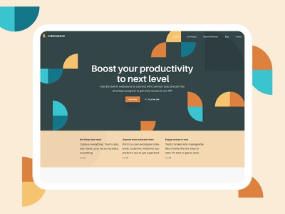 Productivity Application forms geometric mockup ipad isometric creative landing page website design application productivity work in process