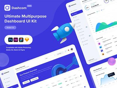 Dashcom UI - Presentation freebie styleguide design system theme application dark mode webapp ui design dashboard project behance