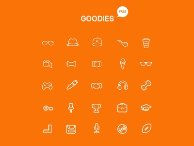 Goodies Icon Set freebie icons goodies stroke icons adobe photoshop download vector icons sunglasses flat adobe illustrator