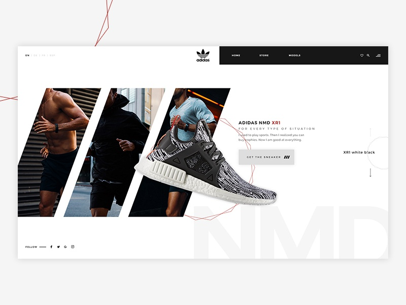 Adidas NMD Concept sneakers shoes minimal minimalistic marketing concept graphic design design ux ui