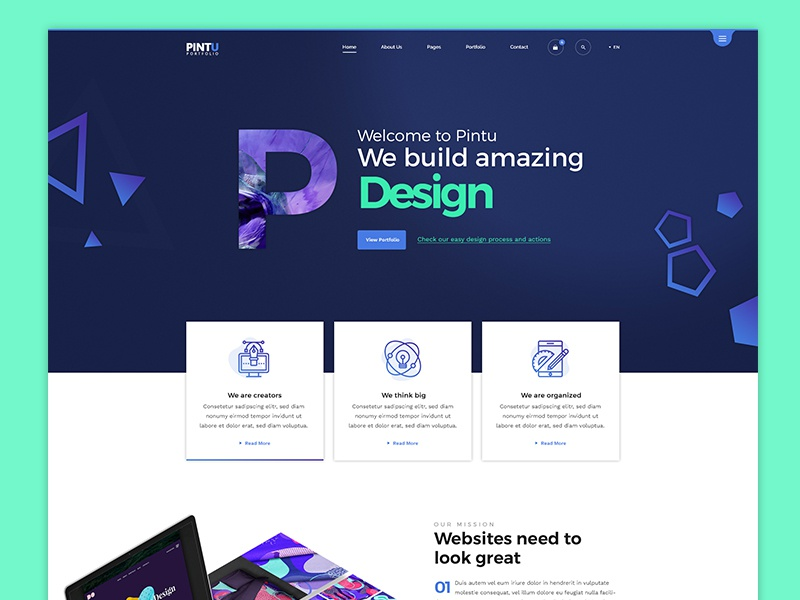 Portfolio Landing Page students freelance graphics agency minimal creative header design landing page design website