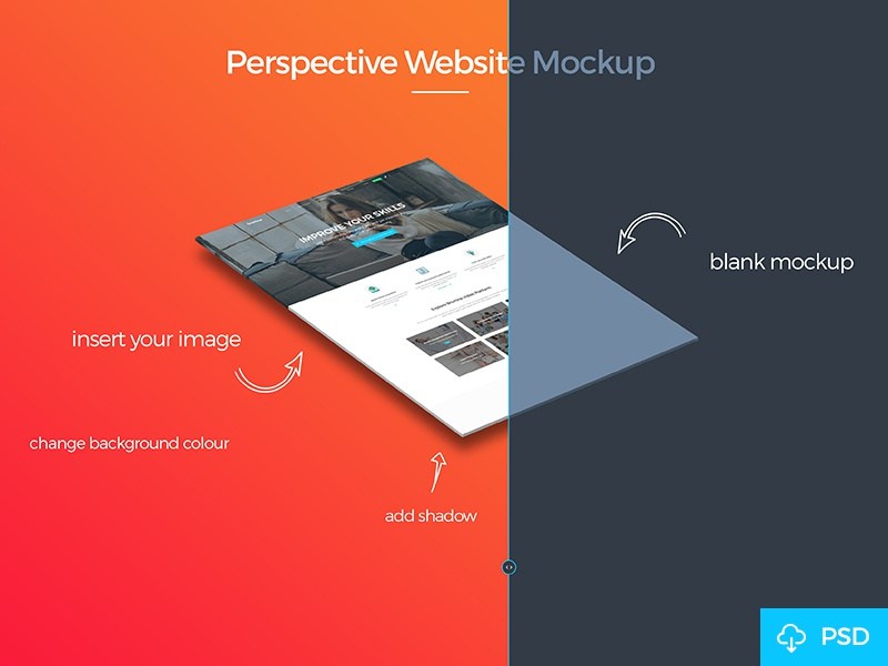 Free Perspective Mockup download free file photoshop psd presentation showcase isomtric mockup website mockup perspective mockup freebie