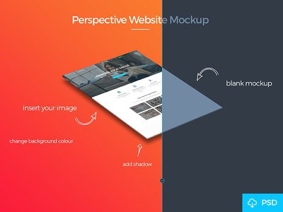 Free Perspective Mockup download free file photoshop psd presentation showcase isomtric mockup website mockup perspective mockup freebie