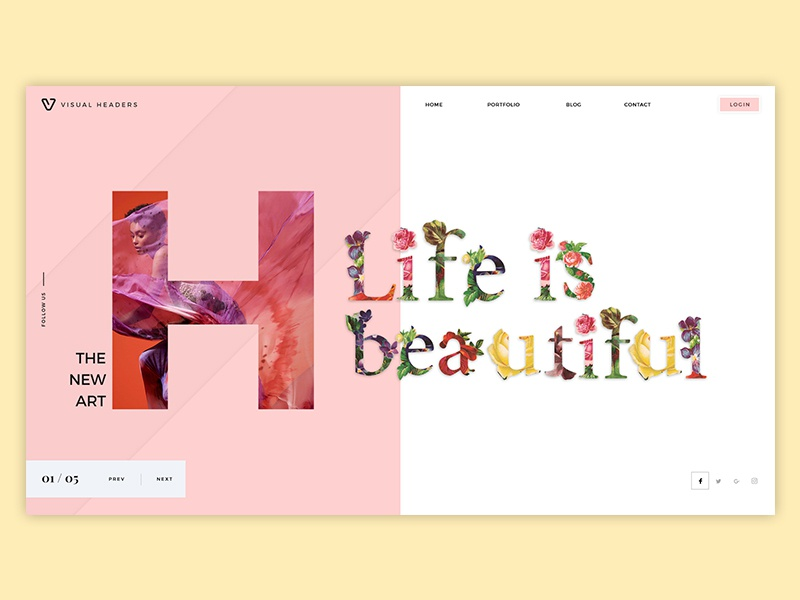 Life is beautiful illustration typography wordpress landing page visual creative art slider design header