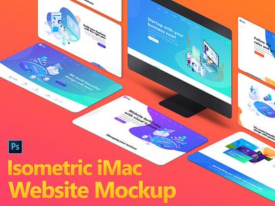 Isometric iMac Mockup