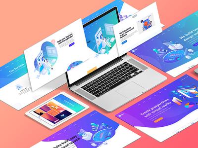 Isometric Website Mockup