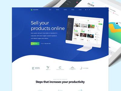 Landing Page Design illustration device mockup product selling device creative webdesign website template landing page