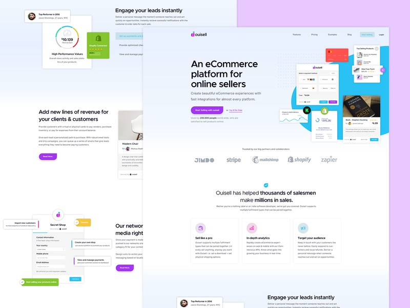 Ouisell - Landing Page Concept user experience platform ecommerce website design ui ux style guide shopify landing page interface design dashboard