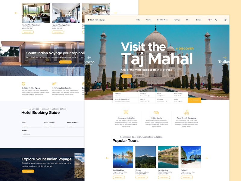 Booking Design landing page illustration theme booking system vacation hotel webdesign website tours booking