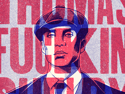 Thomas Shelby - Illustration illustration textured blue comics retro ink truegrittexturesupply texture vintage thomas shelby woodtype peak blinders
