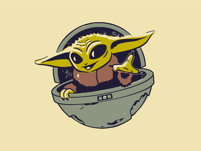 Baby Yoda illustrator vector illustration the mandalorian grogu baby yoda star wars