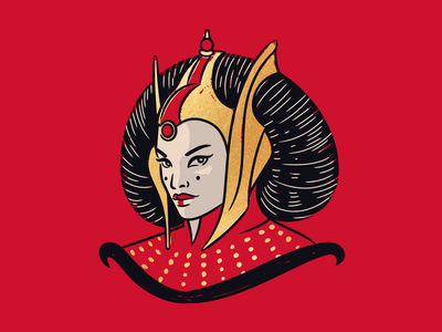 Queen Amidala of Naboo illustration illustrator vector portrait face retro vintage natalie portman naboo gold foil padme star wars