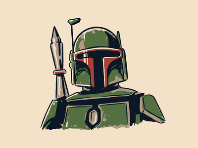 Boba Fett doodle green robot armor saga yoda vintage grit vector illustration mandalorian star wars