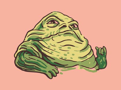 Jabba the Hutt uiillustration design bad guy vintage retro fat crime gangster monster han solo jabba vector illustration illustration green tatooine star wars