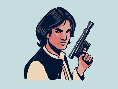 Han Solo ink comic mandalorian yoda leia han solo blaster pistol gun star wars vintage vector illustration