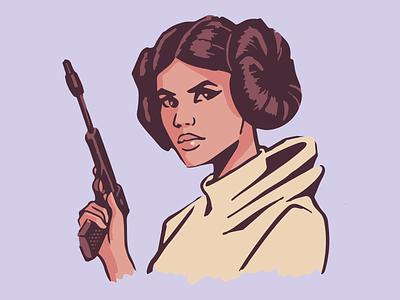 The Rebel Princess - Leia gun portrait face empire vader blaster rebels jedi millenium falcon black comic retro illustration vector star wars starwars