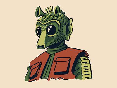 Greedo skywalker leia solo alien bounty hunter tatooine greedo mandalorian vintage star wars vector illustration