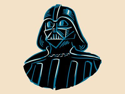 Darth Vader tatooine ink robot helmet skywalker darth maul evil villain empire strikes back sith vintage mandalorian illustration star wars vector