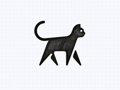 Geometric Cat walk lyon panther animal geometric black icon symbol logo cat