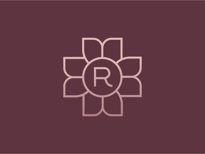 Flower with R monogram flowers flower vector type design logo