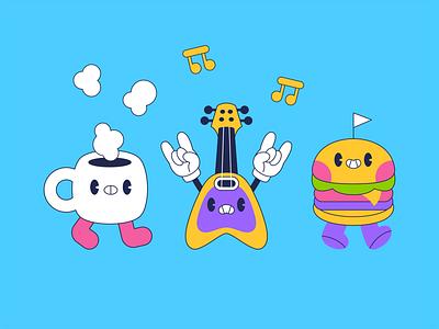 Friends rockin together character design hamburguer rock guitar coffee friends
