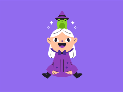 Little witch and her frog october spooky witchcraft magic frog witch halloween