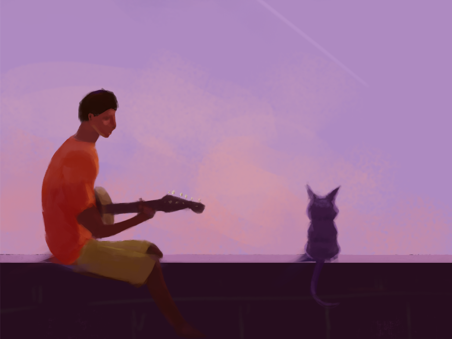 Dusk burnout cat guitar practice illustration