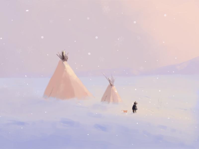 Snow cat illustration