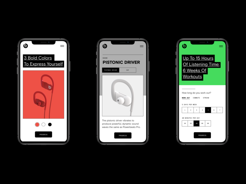 Beats by Dre. Powerbeats Pro Retail Concept battery product page apple technology headphone maximalism clean
