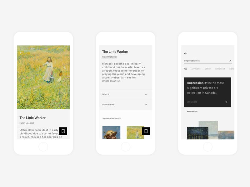 Art Gallery of Ontario App design toronto ui ux typography flat clean minimal app gallery art app