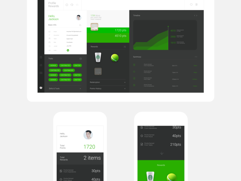Efficiency App info graph points reward profil user profile efficiency flat clean minimal app app ui