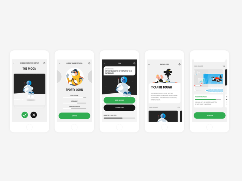 Birth Control Learning App (The Kickback Game) teenage learning app story telling story book game minimal app illustration clean