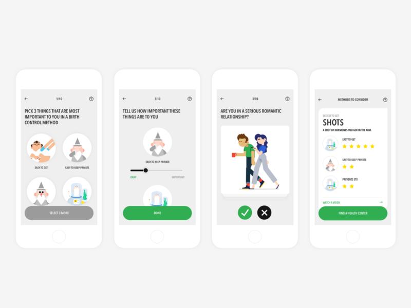 Birth Control Learning App (Design My Birth Control Method) info graphic learning app illustration game flat clean ui minimal app customization birth control