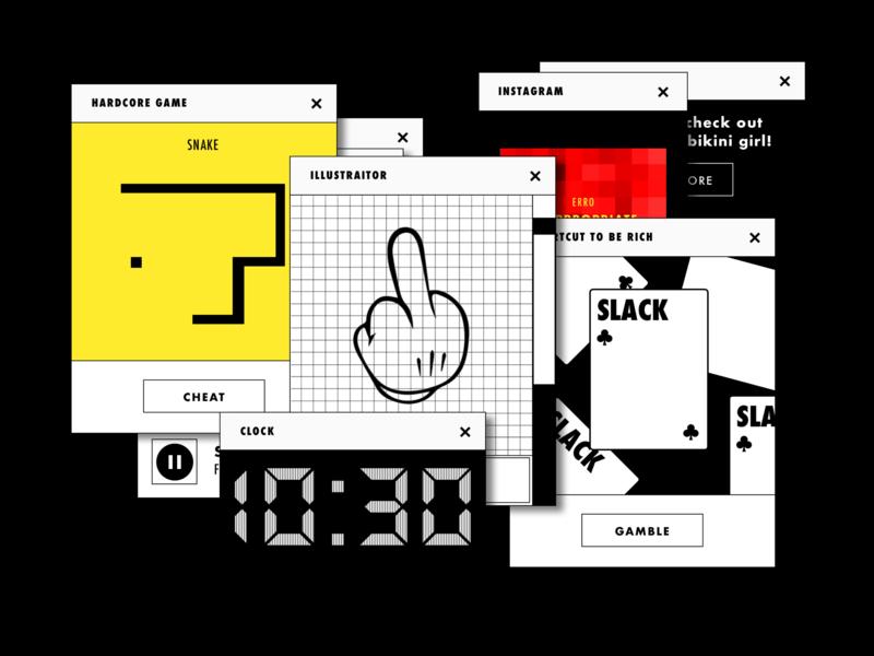 Procrastination story telling story book vector ui vaporwave procrastinate game old illustration fun