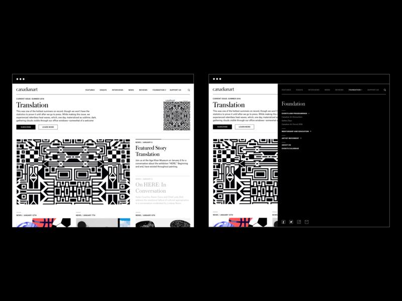 Canadian Art Website Menu Design nav nav bar canada magazine art minimal austin menu desktop black  white ui flat clean