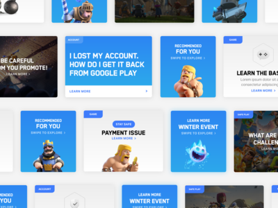 Supercell Card Visual Explorations immersive branding card  game card clash of clans clash royale game minimal app ui flat clean
