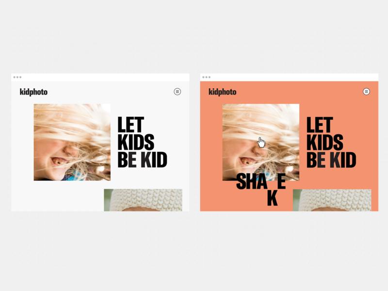 Kidphoto.ca hover ux design branding gt america typography clean flat photographer minimal app ui