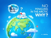 No Penguins Found in the Arctic planet balloon ocean sea mainland sky blue fish ice penguin bear plane earth cloud illustration design ui graphic