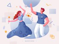 Magicians happy magician magic blue eye man boy girl illustration design graphic