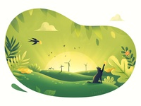 Spring Task windmill swallow flower greenery cloud leaves coins coin cat green illustration ui design graphic