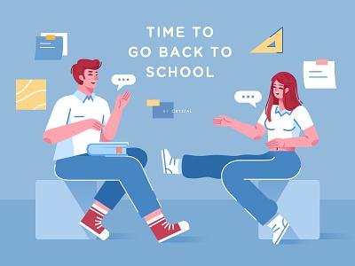 Back to School rule back tag book blue school girl boy ui illustration design graphic