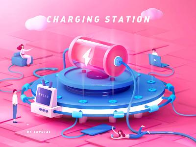 Charging Station charge lightning flashing computer phone charging station blue pink battery 2.5d man cloud boy girl 3d c4d illustration design graphic