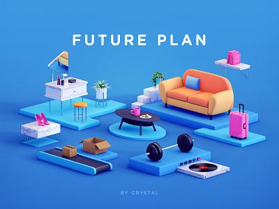 the Future Plan conveyor belt music mirror lipstick cup express barbell book suitcase shoe sofa blue 2.5d 3d c4d illustration ui design graphic