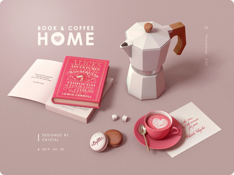 Book & Coffee letter macaroon coffee book design 3d graphic c4d