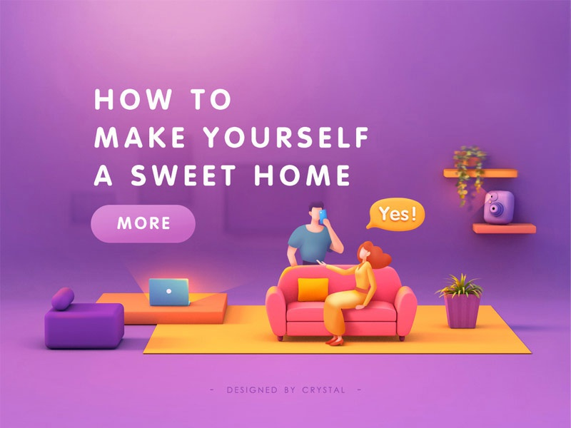 Home Sweet Home boy man girl banner camera computer sofa home illustration design 3d c4d graphic