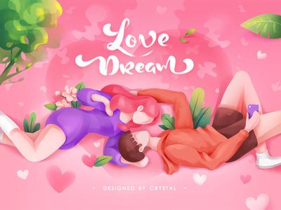 Love Dream pinky pink valentine love girl boy illustration design ui graphic