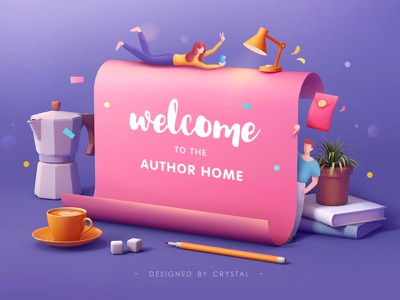 Invitation for Authors 02 pink sugar pan lamp book plant teaport cup coffee letter man boy girl illustration design 3d c4d graphic