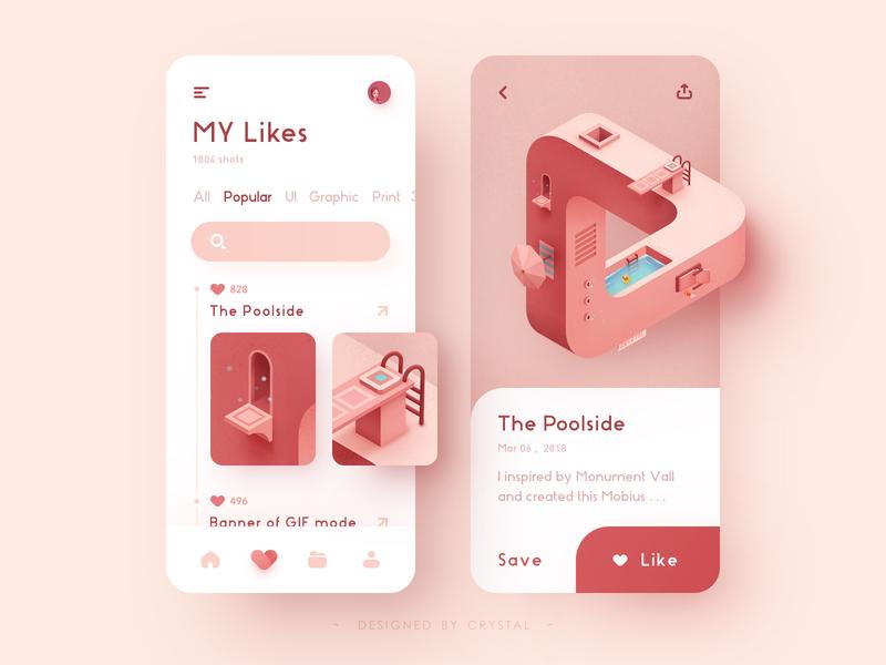the Poolside for APP app triangle mobius umbrella icon design illustration graphic ui