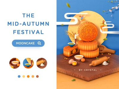 MOONCAKE yellow blue flower leaf tea egg mid-autumn festival mooncake cloud man girl 3d illustration c4d design graphic